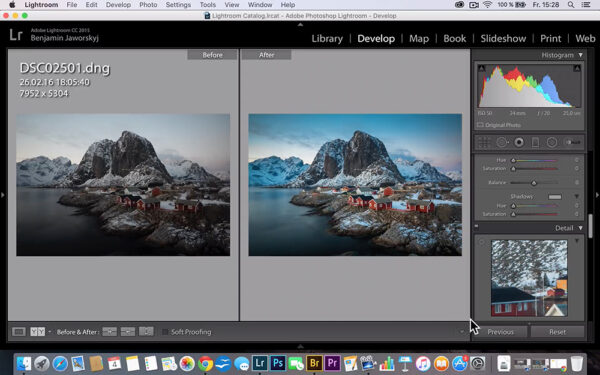 Before and After Image of Landscape Photography Adobe Lightroom Course